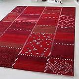 Pelo Corto Alfombra en turquesa, rojo y multicolor grande con Vintage Patchwork Diseño, alta calidad gruesa. Adecuado para salón y otros muebles. Certificado Öko-Tex [Maya], rojo, 160 x 230 cm