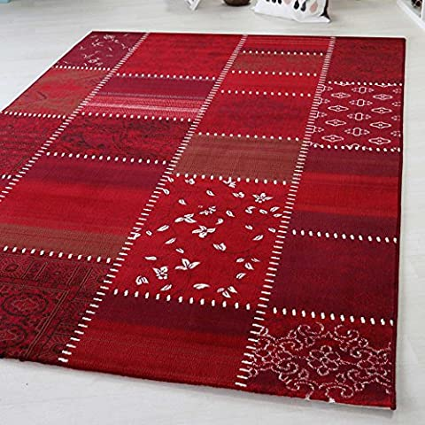 Short Pile Rug in Turquoise, Red and Multicoloured Large Weave