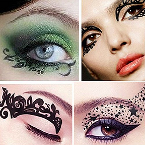 Mlmsy Fashionable Fun Temporary Eye Tattoo Makeup Tool Temporary Eye Tattoo Transfer Eyeshadow and Eyeliner Stickers 10 Pair (Random Pattern)