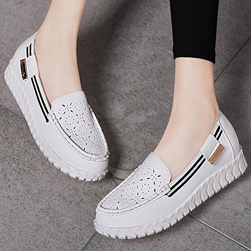 Damen Frühling Low-Top Schuhe Atmungsaktiv Unsichtbar Aufzug Leicht Weich Flache Sparziergang Schuhe Weiß
