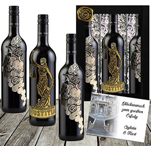 Götter & Reben Weingeschenk Italien Cabernet Sauvignon & Cuvée aus Primitivo, Sangiovese & Merlot Luxus Rotwein Geschenk 3 Flaschen Waage Anwalt