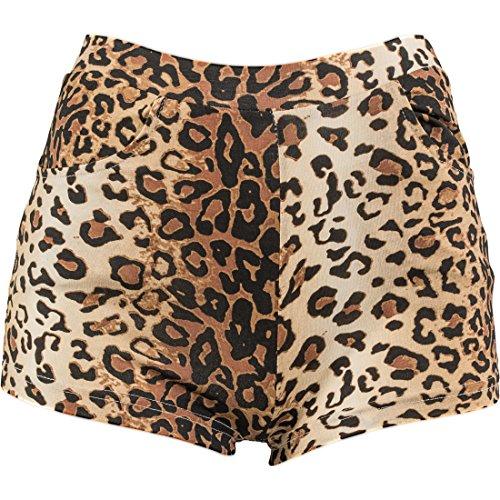 Amakando Shorts Leoparden Print Leo Print Hotpants L/XL 42 - 48 Hot Pants Leopardenlook Panty Leolook Party Outfit Animal Print Karnevalskostüm Kurze Hosen
