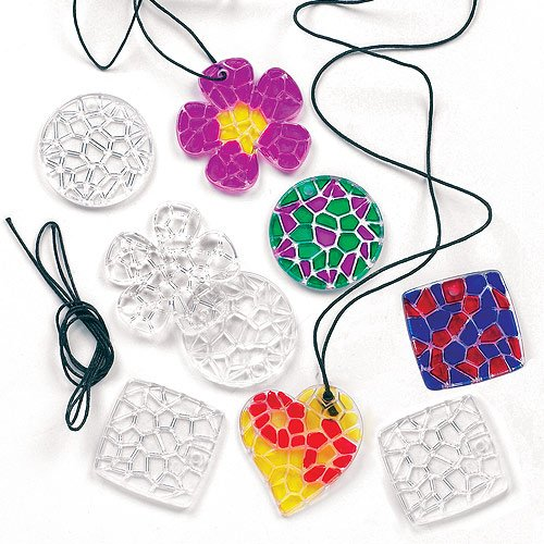 Crystal Mosaic Pendant Necklaces with Black Cord 4 Assorted Designs for Children to Colour(Pack of 12)