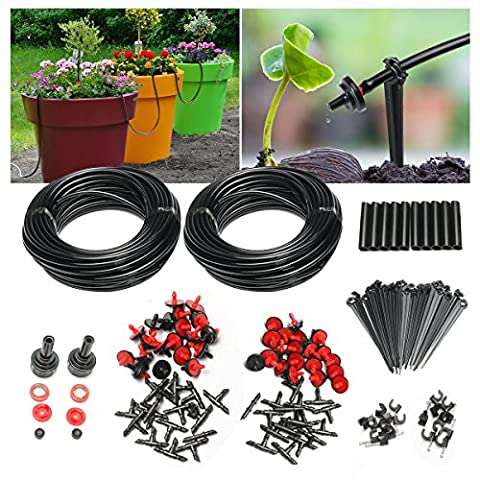 Micro Irrigation Drip System, Pathonor 150ft 4/5 Hose, 15 Dripper & Fixed stem, 14 Tee Joints, 2 Faucet Fittings- Irrigation Micro Irrigation Drip System for Garden Landscape Flower Bed Patio