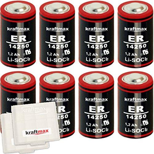 8X Kraftmax LS 14250 3,6V Hochleistungs- Batterie 1/2 AA/Mignon - LS14250 Lithium/Li-SOCl2 Batterien mit extrem hoher Energiedichte - NEUSTE Version - inklusive Schutzbox