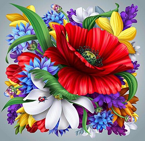 5D Diamond Painting Kit DIY Broche à rayures Cross Stitch Arts Artisanat pour décoration murale à la maison 11,8 * 11,8 pouces (30 * 30 cm) Fleurs lumineuses
