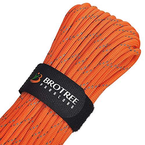 Brotree Paracord Schnur 550 Nylon Seil mit 9 Strängen Fallschirmschnur Reißfestem Kernmantel Seil 280KG Bruchfestigkeit (Standard, Reflektierende) -