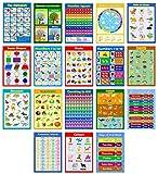 18 x hochglänzende Poster für Kinder, Kleinkinder, Kindergarten, Frühlernen, Klassenzimmer-Wandtafeln für Kindergarten, Kindergarten, Kindergarten, Kindergarten, Alphabet, Zählen, Zahlen