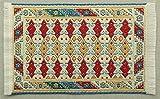 Miniatur Teppich, reines Polyester für Krippe, Puppenhaus, rot beige. 5x9cm