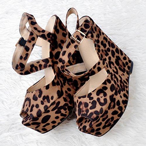 Leopardo Donna Peep Kolnoo Di toe Tgnqt