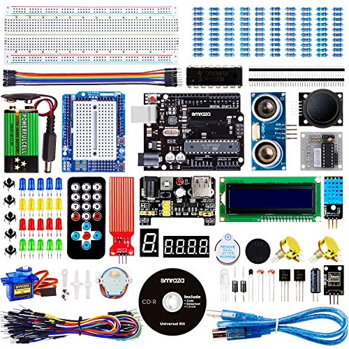 Smraza Für Arduino Starter Kit, Ultimate UNO Project Kit mit Tutorial, UNO R3 Mikrocontroller, Stepper Motor und Servomotor Kompatible mit Arduino UNO R3 Mega2560 Nano v3(26 Projects)