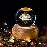 OurLeeme Carillon, sfera di cristallo con luce notturna Carillon con luce di proiezione a LED Base in legno per regalo di rin