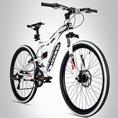Bergsteiger Kodiak 26 Zoll Mountainbike, geeignet ab 150 cm, Scheibenbremse, Shimano 21 Gang-Schaltung, Vollfederung, Jungen-Fahrrad & Herren-Fahrrad -