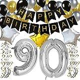 KUNGYO 90 Buon Compleanno Festa Decorazioni Kit Nero Striscione di Happy Birthday, 100CM Grande Pallone 90 in Argento, Stelle Palloncini , Lattice Ballon, Turbinii Appesi, Feste di 90 Anni