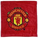 Manchester United FC Official Football Crest Face Cloth / Flannel Set (Pack Of 12) (30cm x 30 cm) (Red)