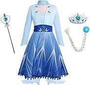 IBTOM CASTLE Kinder Mädchen Kostüm Prinzessin Rapunzel Lang Kleid Party Cosplay Verkleidung Festlich Karneval Festkleid Braut