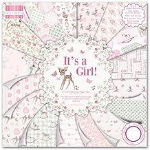 First Edition It's a Girl - Bloc de 48 hojas de papel para manualidades (20,3 x 20,3 cm)