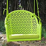 ART TO REAL Pack of 2 Wicker Porch Swing Chair for Children or Adult, Hanging Rope Chair Swing Seat, Indoor and Outdoor Playground Swing Set Accessories, UV Resistant (Green)