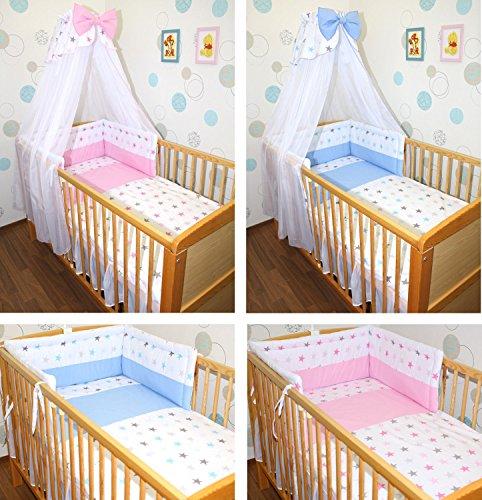 5-20 teiliges Baby Bettset STAR ROSA/ROSA STAR BLAU/BLAU mit Bettwäsche Chiffon Himmel Nestchen