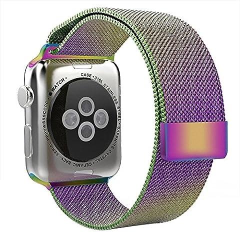 Skitic Apple Watch Band, Milanese Loop Acier Inoxydable Mesh Replacement de Bracelet Strap Wrist Bands avec le Fermoir Magnétique Unique pour Apple Watch Sport Edition Toutes les Versions (Coloré 38mm)