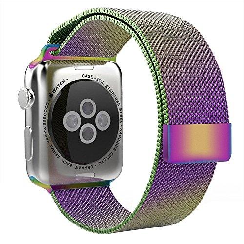 Skitic Apple Watch Band, Milanese Loop Acciaio Inossidabile Mesh Replacement Wrist Strap Bands Cinturino Orologio Bracciale con Unico Magnete di Blocco pour Apple Watch Sport Edition Tutti i Modelli (Colorato 38mm)