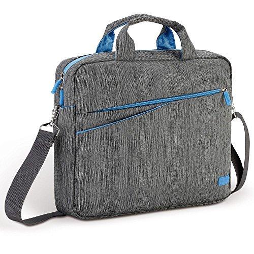 """deleyCON Notebooktasche für Notebook / Laptop bis 13.3\"""" (33,7cm) - Tasche/Hülle aus Leinen mit Zubehörfächern und verstärkten Polsterwänden - grau/blau"""