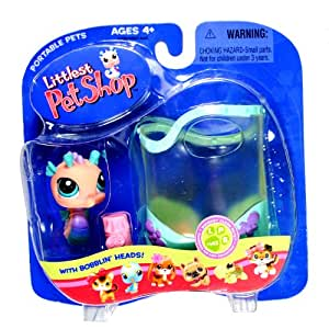 Hasbro Year 2005 Littlest Pet Shop Portable Pets Squeaky Clean Pets Series Collectible Bobble Head Pet Figure Set #142 - Pink Seahorse with Aquarium and Food (51839)
