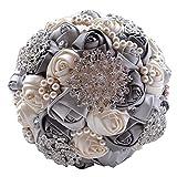Quibine Handgemachter Diamant Perle Strass Braut Hochzeit Bouquet Rosen mit Perlen Ketten Blumenstrauß für Foto-Schießen, Valentinstag, Heiratsantrag, Geburtstag und besonderer Tag Geschenk