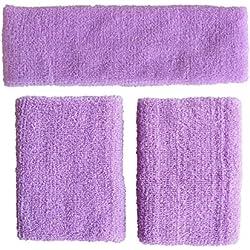 Meta-u vente en gros 5jeux de Violet clair épaissir Coton Sports Sweatbands-1set Y Compris 1pce du Bandeau et 2pièces de bracelets