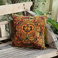 Changnoi Hmong Cushion Cover, Boho Cushion, Bohemian Decor, Embroidered Cushion, Throw Pillow, Colourful Cushion, Bright Cushion Cover