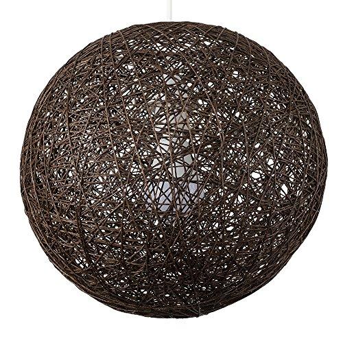 MiniSun - Moderna pantalla para lámpara de techo de estilo bola de cristal - de mimbre enrejado, de tamaño mediano y color marrón
