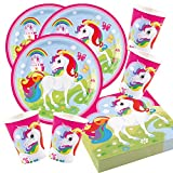 Amscan 52-Teiliges Party Set Einhorn Teller Becher Servietten für 16 Kinder Unicorn