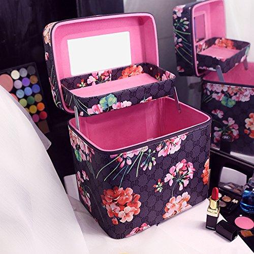 Die neue große Kapazität Make-up-Tasche retro Drucken tragbare kosmetische Box double layer portable Kosmetik Produkte, schwarz doppel
