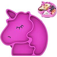 Piatto per bambini in silicone,Disegno unicorno Piatto bambino in silicone con ventosa antiscivolo. Materiale sicuro…