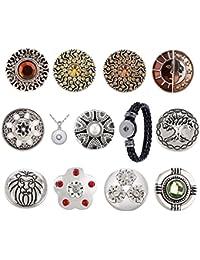Morella - 11 clips con colgante de acero de 70 cm y pulsera, diseño de sol, luna y brillantes