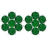 Pendientes de tuerca, 0,84 quilates, piedra preciosa redonda, esmeralda de 3 mm, 3 mm, pendientes de esmeralda creados en lab
