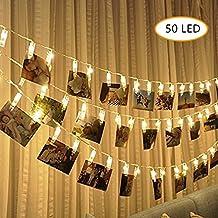 Foto Clip cadena de luces LED - 50 Foto clips 5M plana Betri batería Bildleuchten LED para la ración decorativos colgantes de fotos, notas, ilustraciones(Blanco caliente)