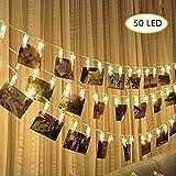 Foto Clip cadena de luces LED - 50 Foto clips 5M plana Betri batería Bildleuchten LED para la...