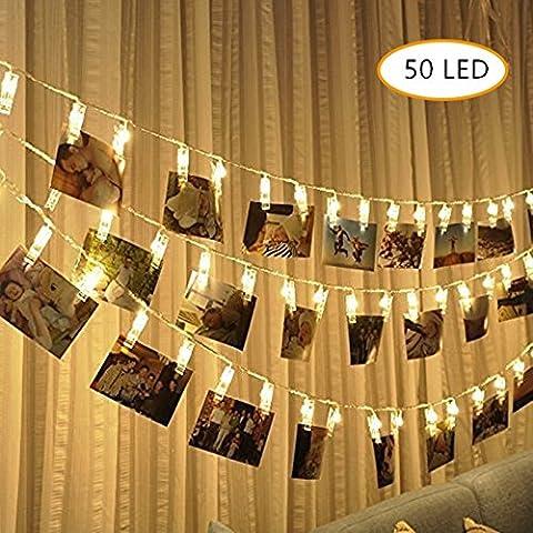 50 LED Foto Clips Lichterkette, Ubegood Foto Clips 5.2M Batteriebetriebene Stimmungsbeleuchtung DekorationPhoto Clips für Zuhause, Party, Weihnachten, Dekoration, Hochzeiten (Warmweiß)