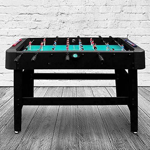 Deuba Football Soccer Table Family Game 4Ft Large Kids Leisure Toys Wooden Kicker Fun Play Home Free Standing 118 x 61 x 79 cm