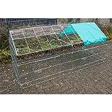 RinderOhr Kaninchenauslauf Dach mit Netz 220 x 103 x 103 cm
