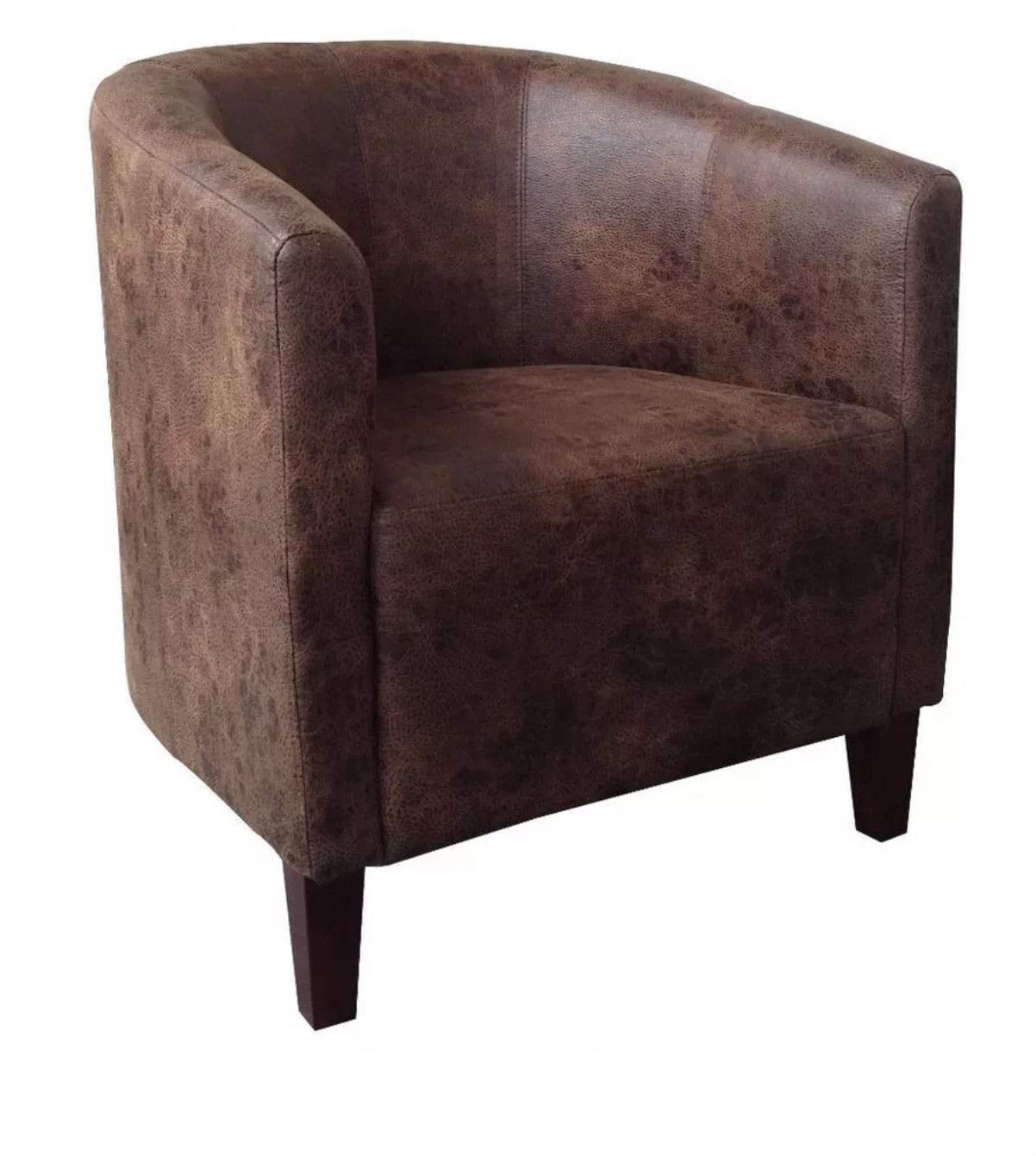 One Furniture JumboFabric Tub Chair Armchair for Dining Living Room Office Reception – Dark Brown