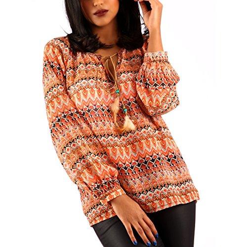 Damen Chiffon Bluse Hippie Blusenshirt Ethno Style Oversize Shirt Braun