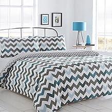 Pieridae Chevron - azul, fundas de edredón y almohadas para cama doble King, suelto