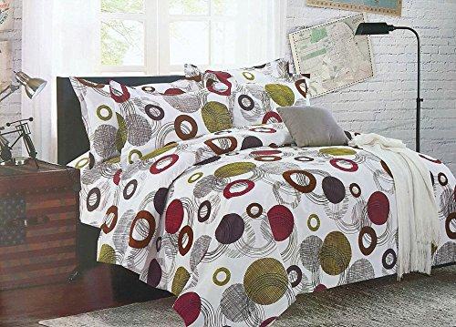 Bullahshah círculos, Puntos y diseño Abstracto Funda nórdica Juego de Cama con Fundas de Almohada, Blanco/Verde / marrón/Magenta (Rey)