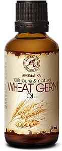 Weizenkeimöl 50ml - Kaltgepresst & Raffiniert - 100% Reines - Glasflasche - Intensive Pflege für Gesicht - Körper - Haare - Gut mit Ätherischem Öl - für Massage - Körperpflege - Weizenkeim Öl