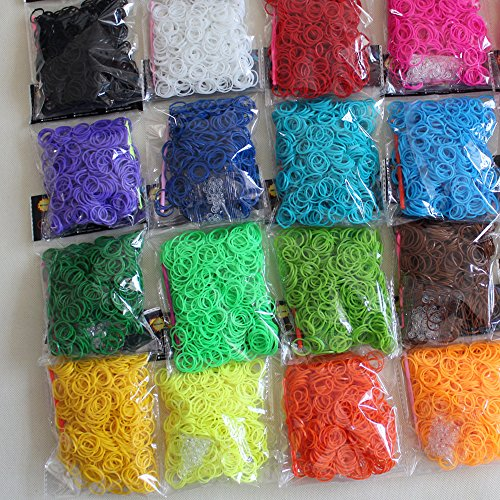 DIY Refill Rubber Bands Kit 16 Different Colors 9600PCS 384 S Clips 16 Hooks by Vosyoung (Rubber Band Refill-kits)