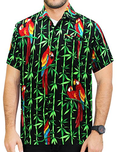 La-Leela-Likre-Juego-Hawaiano-Camisa-y-Vestidos-Para-Hombre-70s-80s-90s-Camisa-Hawaiana-de-Los-Hombres-Retro-Vintage-de-La-Isla-XS-Negro