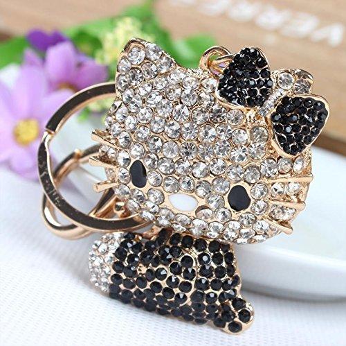 Beautiful 3D Luxury BLACK Hello Kitty With Cute Boot Rhinestone Keychain by Elfstore