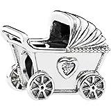 تعليقة سلسال على شكل عربة اطفال للنساء من باندورا - 792102CZ، فضي